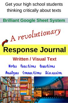Students complete a response journal for their novel or film study.  Prompts are provided.  Eventually they can read down columns for notes on all elements of literature, and across rows for chapter/scene notes.  Students complete this as an online Google activity.  Teachers can edit it to better suit their needs if they like, however it's already designed to cater for all students aged 15 and up.  Excellent for engaging critical thinking skills in text studies. Elements Of Literature, English Literature, Film Studies, Social Studies, Literacy Strategies, Study History, Critical Thinking Skills, Student Studying, Open Book