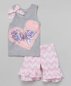 Another great find on #zulily! Pink Heart Tank & Ruffle Shorts - Toddler & Girls by Beary Basics #zulilyfinds