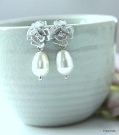 A Rhodium Plated Cubic Zirconia Flower Swarovski White Pearl Earrings. Wedding Jewelry Wedding Earrings Bridal Earrings Bridesmaid Earrings
