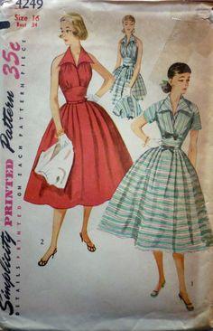 VINTAGE 1950'S SIMPLICITY 4249 PATTERN DRESS HALTER NECK & BOLERO SZ 16 UNCUT...gorgeous sundress.