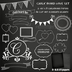 Chalkboard Love Part ONE- CU Digital Clip Art and Digital Papers