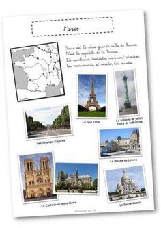 Paris et la tour Eiffel Tour Eiffel, Foto Paris, Canada Day Crafts, French Education, Les Continents, Paris Pictures, Teaching French, French Teacher, Geography