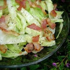 Bacon fried cabbage, simple