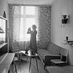 Интерьер однокомнатной квартиры, 1963 год. Типичная обстановка однокомнатной квартиры 1960-х годов