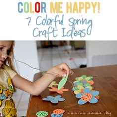 Color Me Happy 7 Colorful Spring Craft Ideas! Great indoor ideas while waiting for better weather! Spring Activities, Creative Activities, Craft Activities, Fun Crafts For Kids, Summer Crafts, Projects For Kids, Diy Projects, Classroom Crafts, School Decorations