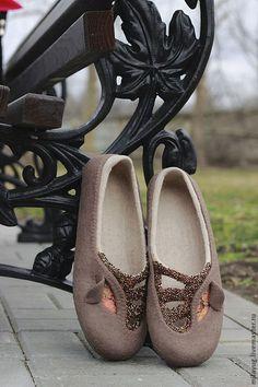 """Glam"" тапочки-балетки валяные - коричневый, Тапочки ручной работы, валяные тапочки"