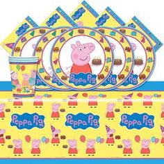 Amazon.com: Peppa Pig Cartoon Children's Birthday Complete Party Tableware Pack for 16: Toys & Games