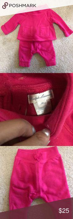 Ralph Lauren 2 Piece Sweatsuit Outfit Ralph Lauren 2 Piece Outfit -Sweatsuit Outfit Size 3 months. Color: Fuchsia Ralph Lauren Matching Sets