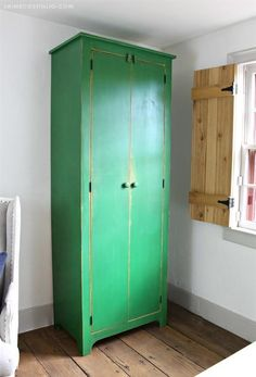 A DIY tutorial to build a tall cupboard with free plans. Tons of concealed storage in an easy to build cabinet with movable shelves. Diy Kitchen Storage Cabinet, Farmhouse Storage Cabinets, Diy Cupboards, Laundry Room Storage, Built In Cabinets, Tall Cabinet Storage, Broom Cabinet, Pantry Storage, Kitchen Cupboard