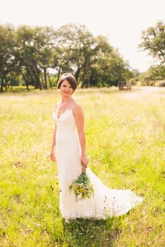 Real bride Cori was married in a lace sheath wedding dress from the Blue Willow Bride collection by Anne Barge. Her Backyard Texas Wedding was featured on the Ruffled blog.
