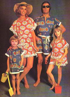 retro matching big floral beach coverups,mother daughter outfits