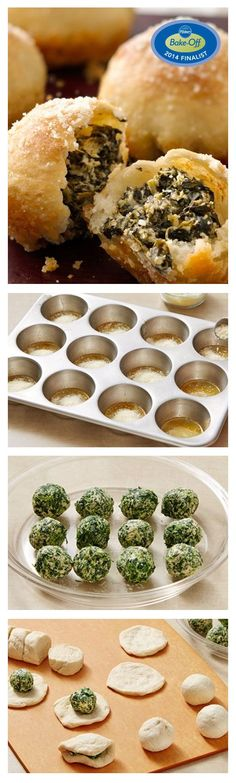 """Winner of the Pillsbury Clever Twist Award at the 47th Pillsbury Bake-Off® Contest. Spinach Dip-Stuffed Garlic Rolls using Green Giant veggies. Love spinach dip? Try it all rolled up in one easy and tasty appetizer. This recipe says """"second batch may be needed."""" Only takes 30 minutes to prep."""
