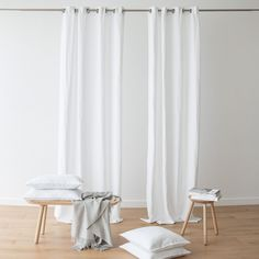 Each curtain is crafted from prewashed heavyweight linen, and has eight eyelet grommets to fasten through a curtain pole for smooth opening and closing. Grommet curtains also hang in clean lines when open, creating an uncluttered feel. Grommet Curtains, Curtain Fabric, Panel Curtains, Linen Fabric, White Linen Curtains, House Essentials, Curtain Poles, Elegant, Luxury