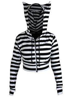 Banned Ladies Black and White Striped Crop Hoodie