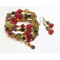 Red Boho Wrap Bracelet Set, Red and Brown Beaded Wrap Bracelet,... ($23) ❤ liked on Polyvore featuring jewelry and bracelets
