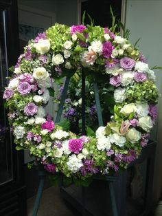 Funeral wreath by Fleurie, mixed flowers and greenery Large Flower Arrangements, Funeral Tributes, Sympathy Flowers, Flower Studio, Orchidaceae, Funeral Flowers, Greenery, Floral Design, Floral Wreath