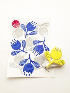 flower hand carved rubber stamp. spring woodland von talktothesun