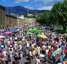 Salamanca Markets, Hobart Australia - with Mt Wellington in the distance. About got list here.thankfully found horseback adventure on Mt. Places To Travel, Places To See, Places Ive Been, Australia Living, Australia Travel, Visit Australia, Tasmania, Salamanca Market, Hobart Australia
