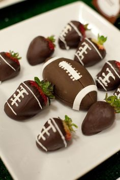 Chocolate covered strawberry footballs!