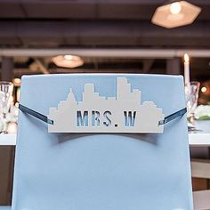 Cityscape Silhouette White Acrylic Mr & Mrs Chair Signs-Decor-Chairs-Here Comes The Bling™