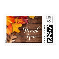 Thank You Rustic Wood Autumn Maple Thanksgiving Postage
