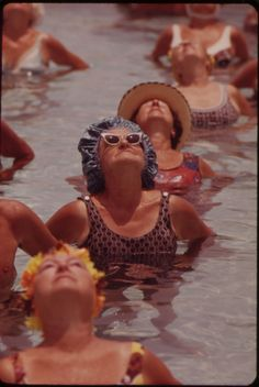 Residents Take Part in Organized Daily Exercises in One of the Public Pools at Century Village Retirement Community. residents take part in organized daily exercises in one of the public pools at century village retirement community, 1975
