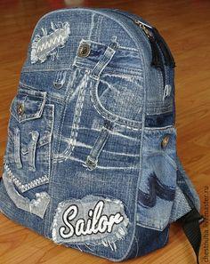 """Купить Рюкзак джинсовый """"Denim style"""" - темно-синий, однотонный, рюкзак, рюкзак ручной работы"""
