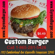 FEATURING Gyrene Burger's....   CUSTOM BURGER   Two never-frozen 100% Angus beef patties with any toppings. Choose from Texas-smoked bacon, American or Swiss Cheese, Crispy lettuce, Florida-grown tomato, rich and creamy mayo, Heinz Ketchup, mustard, sauteed mushrooms, sliced jalapenos on a fresh sesame bun. toppings.  Price: $6.49  http://eat24hrs.com/restaurants/order/menu.php?id=27704  #burger #knoxville #burgers #fortsanders #tennessee #cumberland  #knoxvillebestburger #gyreneburgerkx