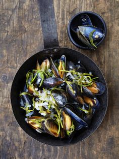 Mussels steamed in cider with hop shoots