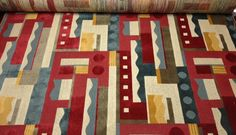 CLARENCE HOUSE ELLINGTON RED GEOMETRIC ABSTRACT LINEN VELVET FABRIC BY THE YARD #ClarenceHouse