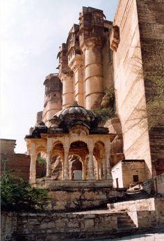Meherangarh Fort, Jodhpur, India  The cenotaph was built in 1810.