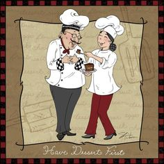 Have Dessert First - By: Artist - Shari Warren She creates humorous chef and waiter art showing them with lots of food and wine perfect for kitchen decor. Kitchen Artwork, Kitchen Prints, Chef Pictures, Art Pictures, Chef Kitchen Decor, Foto Transfer, Tile Murals, Le Chef, Decoupage Paper