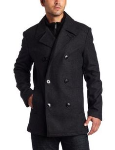 Kenneth Cole Reaction Men's Melton Peacoat With Bib, Charcoal, Small  Kenneth Cole REACTION