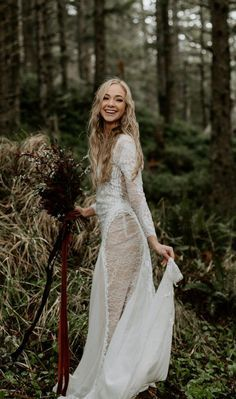 Adventurous bride wearing a grace loves lace wedding dress and greenery and rust-colored bouquet tied with velvet ribbon in a forest on the Oregon Coast. Rustic Wedding Dresses, Wedding Dresses 2018, Boho Wedding Dress, Prom Dresses, Formal Dresses, Lace Wedding, Open Back Wedding Dress, Bridal Poses, Grace Loves Lace