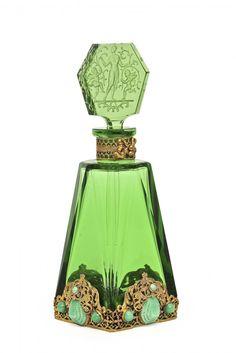 1920s Czechoslovakian green crystal perfume bottle