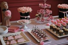 Pink and Black desserts for a baby shower