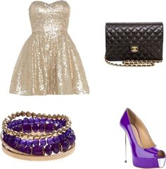 """""""Gold and Purple Prom"""" by bombaloo on Polyvore"""