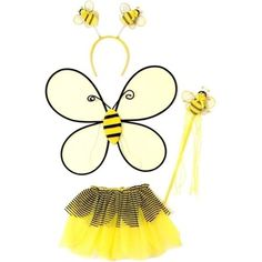 Yellow Toddler Girl Bumble Bee Wings Tutu Wand Costume Dress Up Set Best Halloween Costumes & Dresses USA Toddler Dress Up, Girls Dress Up, Tutus For Girls, Baby Girls, Toddler Costumes, Baby Costumes, Baby Bee Costume, Sofia Costume, Bee Halloween Costume