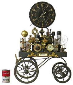 "Clock on Wheels  25"" high x 18"" wide x 9"" deep | #5048"