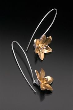 """Padme Earrings   1999 sterling silver, 18k/sterling bimetal approx. 1.5"""" long series of five  private collections"""