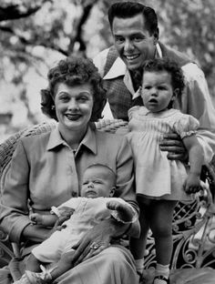 Desi Arnaz with daughter Lucie, Lucille Ball and Desi Arnaz Jr., 1953
