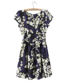 Short-sleeved Daisy-print Dress