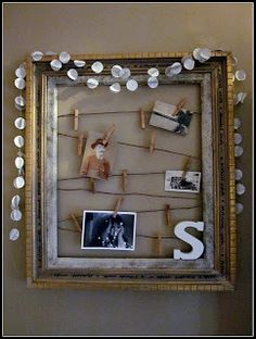 try it on mirror; other places are cork under calendar and mantel above fireplace - Homeroad-DIY photo display