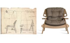 """Sergio Rodrigues, ícone do design brasileiro, morre aos 86 anos // Sergio Rodrigues, brazilian design icon, dies at age 86 in Rio. In this picture, the drawings and the final product: the """"Benjamim"""" armchair."""