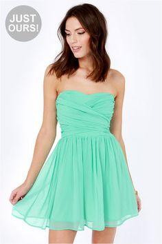 LULUS Exclusive Sash Flow Strapless Mint Green Dress