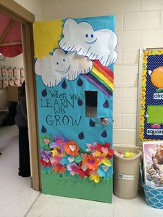 Spring rainbow Class Door decoration - when we learn we grow