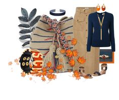 """Tan/blue/orange"" by kloeyblue ❤ liked on Polyvore featuring Guanábana, Frame Denim, Top End, Tory Burch, Miss Selfridge, Moschino and BERRICLE"