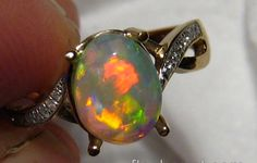 1.4ct Red Harlequin Crystal Opal & Diamond Ring 14k Gold