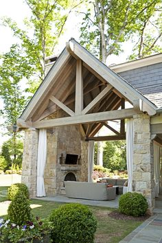 Stone Loggia This stunning loggia features impressive ceilings with limed Timber trusses and slate roof - Venus Venus - Aktuelle Ideen Pergola Patio, Backyard Patio, Patio Awnings, Cedar Pergola, Pergola Kits, Pergola Ideas, Outdoor Rooms, Outdoor Living, Outdoor Patios