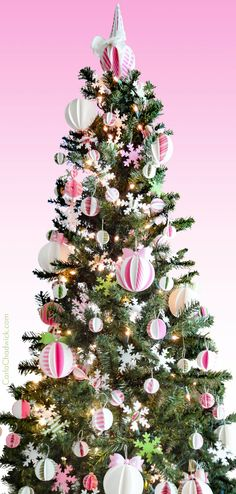 "The Kindle book ""Printable Pink Peppermint Christmas Decorations"" gives you the printables and instructions you need to create this stunning look, plus matching garlands, cupcake toppers, tabletop trees and gift bags.     #ChristmasPrintables #PinkChristmas #ChristmasOrnaments #DIYChristmasOrnaments #CarlaChadwick Peppermint Christmas Decorations, Printable Christmas Ornaments, Holiday Decor, Pink Christmas, Christmas Tree, Merry And Bright, Garlands, Party Printables, Cupcake Toppers"